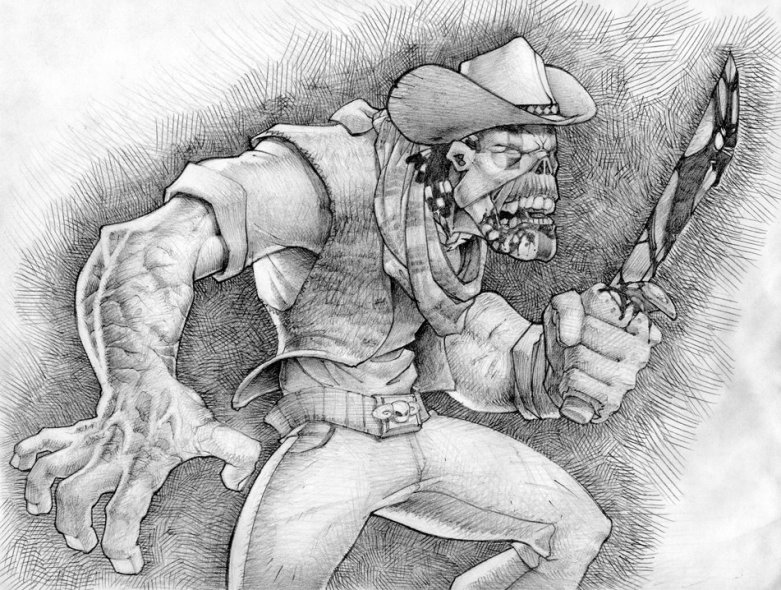 Undead / Zombie Cowboy Illustration Drawing