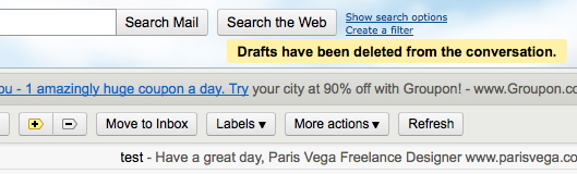 No warning when discarding drafts in Gmail